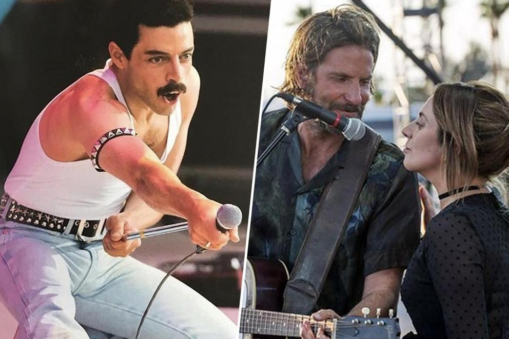 Which music drama dominated 2018: 'Bohemian Rhapsody' or 'A Star Is Born'?