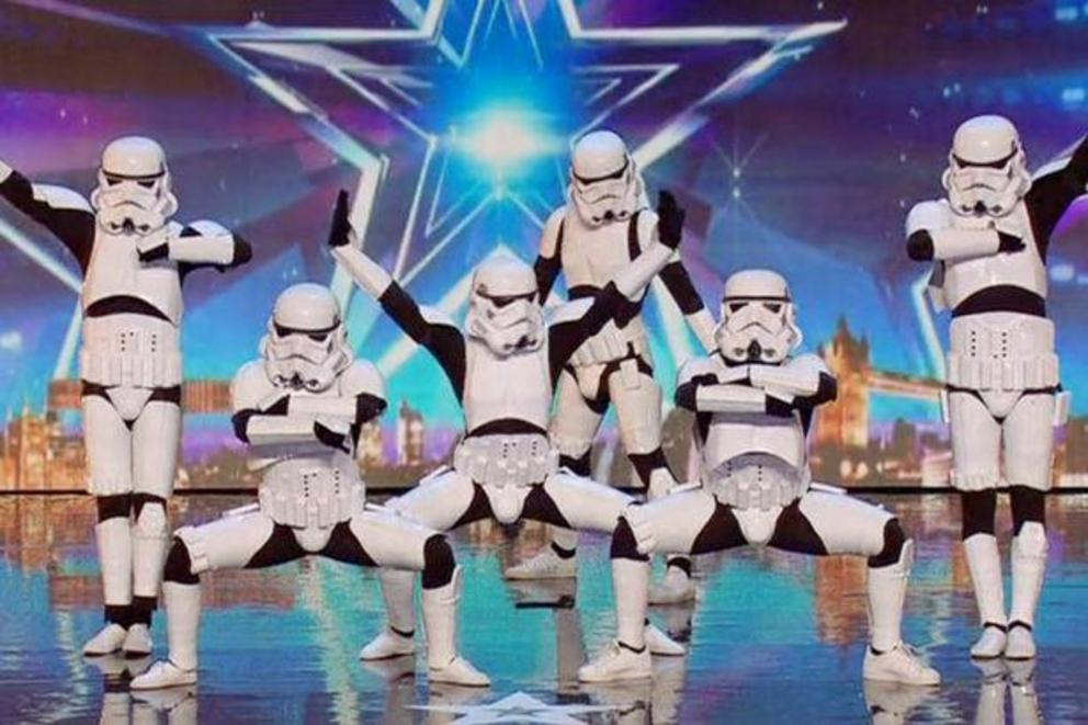 "Simon Cowell gave the ""Golden Buzzer"" to dancing Stormtroopers"