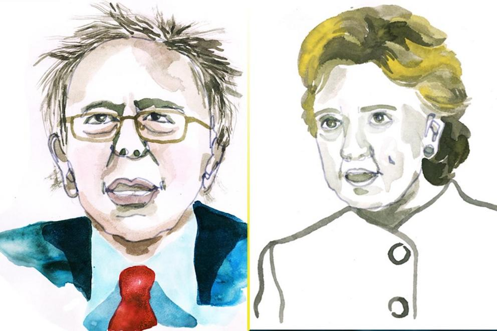 Which look is more iconic—Hillary's pantsuits or Bernie's frumpiness?