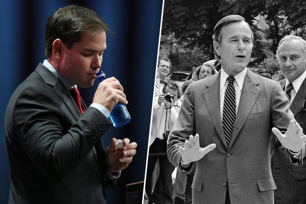 Worst Food Faux Pas: Marco Rubio's water bottle or George H.W. Bush barfing?