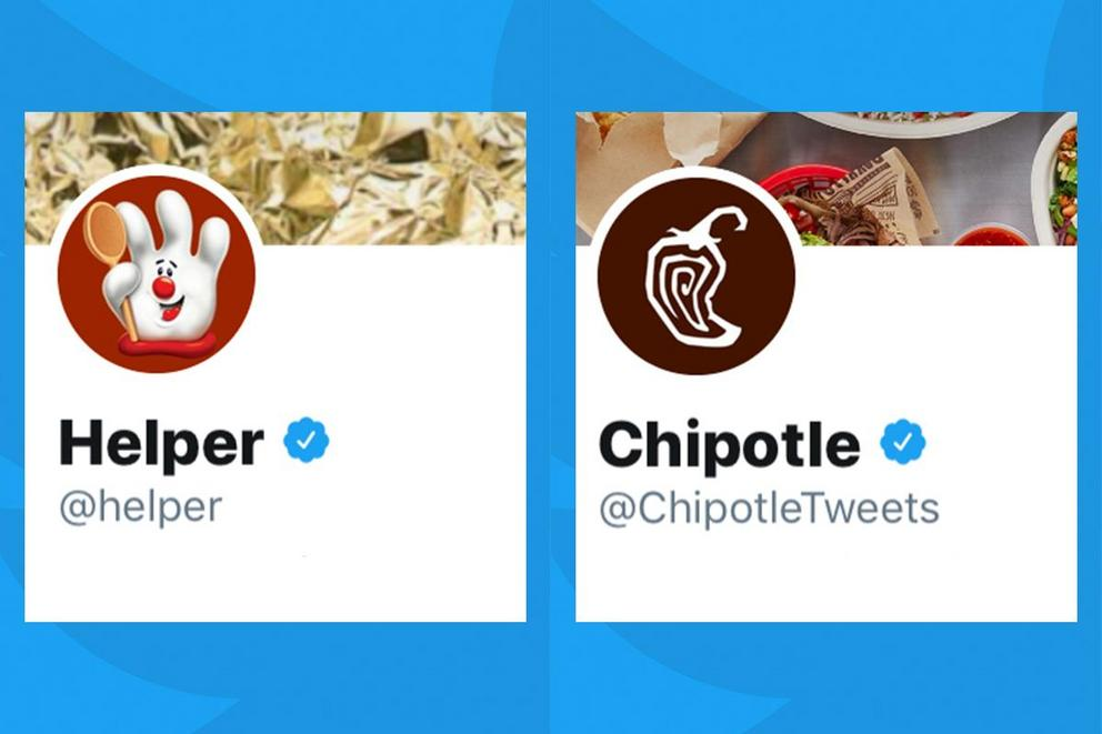 Which brand has the best Twitter account: Hamburger Helper or Chipotle?