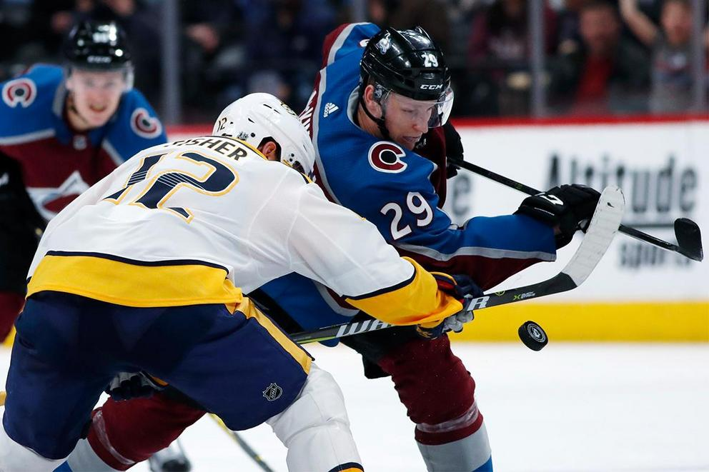 Which team will survive the first round of NHL playoffs: Nashville Predators or Colorado Avalanche?