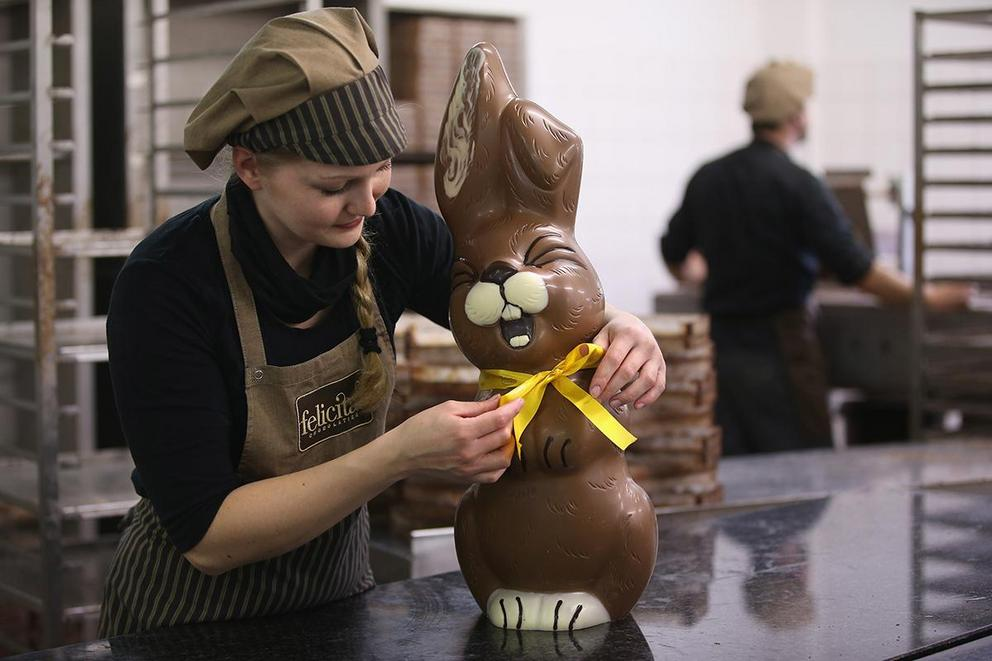 What's the right way to eat a chocolate bunny?