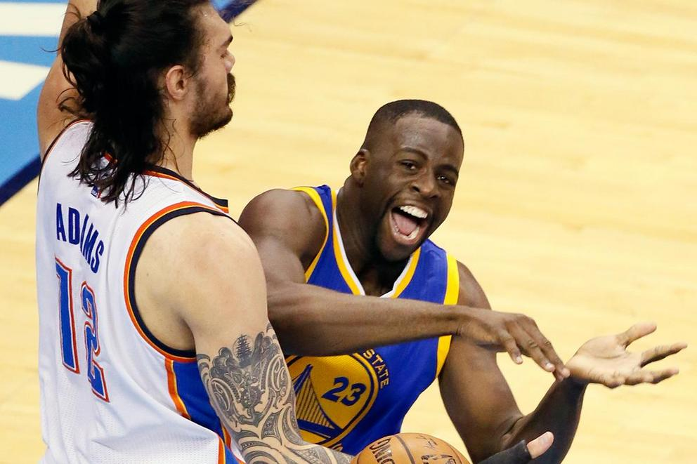 Did Draymond Green intentionally kick Steven Adams in his groin?