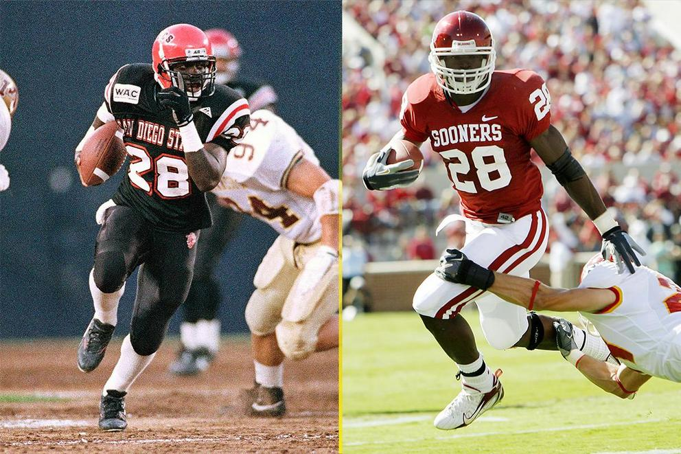 Most exciting College Hall of Fame running back: Marshall Faulk or Adrian Peterson?