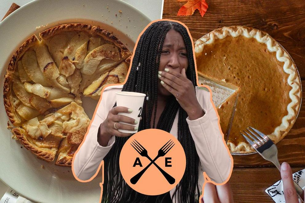What should Aasha eat next: apple pie or pumpkin pie?