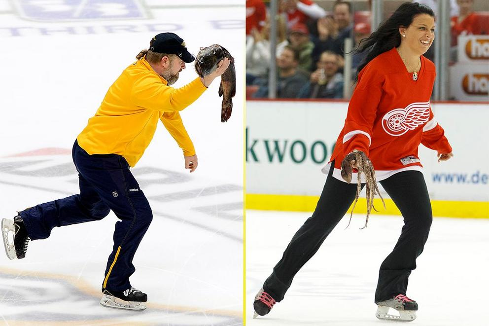 Most bizarrely awesome NHL ritual: Nashville's catfish toss or Detroit's octopus toss?