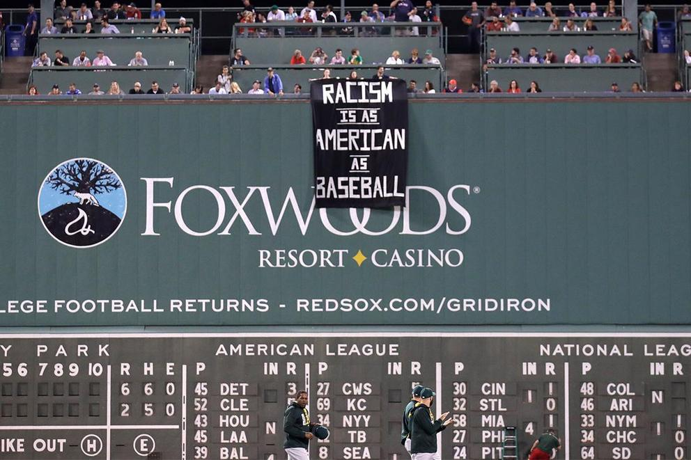 Does that anti-racism banner at Fenway Park have any place at a baseball game?