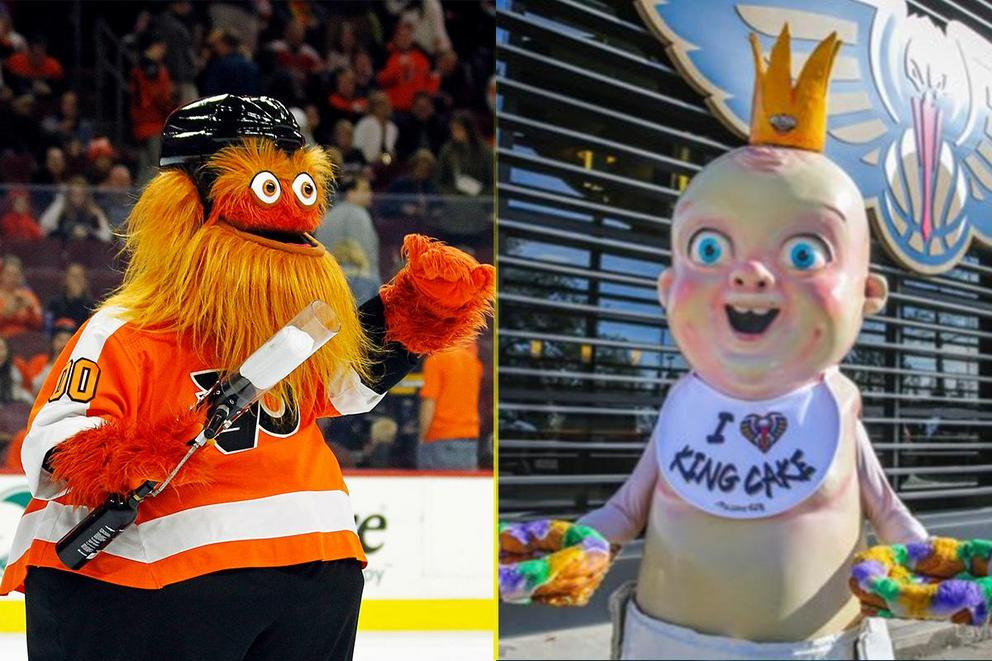 Which sports mascot is pure nightmare fuel: Gritty or King Baby?