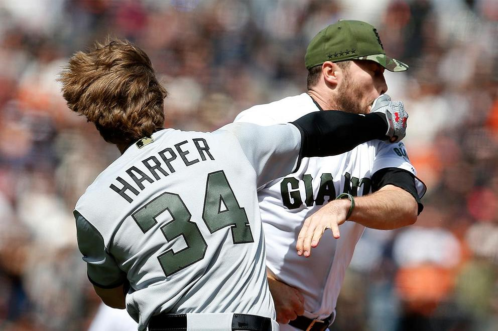 Is Buster Posey a bad teammate for not protecting Hunter Strickland in a brawl?